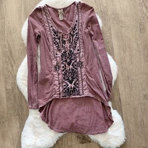Free People high low embroidered tunic